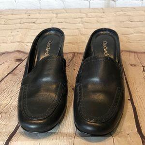 "Chadwick's black leather slide w 2.5"" heel"